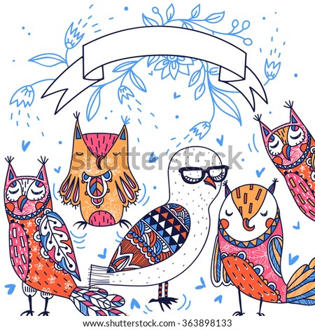 vector card with funny colorful owls - stock vector