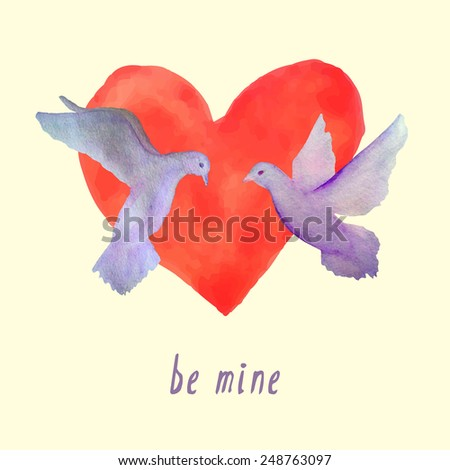 Vector card with hand painted watercolor doves flying against the background of big watercolor heart. Romantic illustration of a couple in love. Perfect for Valentine's day or engagement celebration. - stock vector