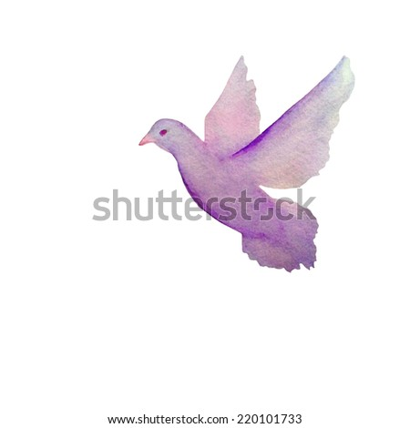 Vector card with hand painted watercolor pigeon flying in the sky. - stock vector
