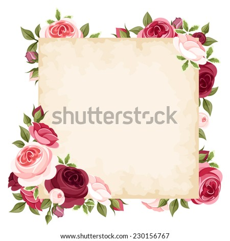 Vector card with red and pink roses. - stock vector