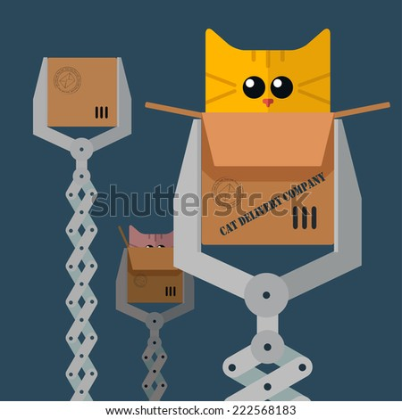 Vector card with robot claw holding box and cats, Eps10 - stock vector