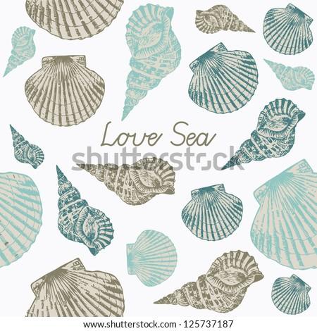 Vector card with Sea Shells - stock vector