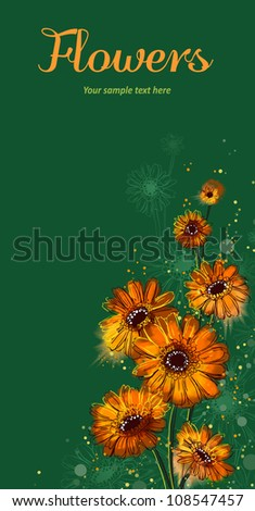 Vector card with stylized flowers - stock vector
