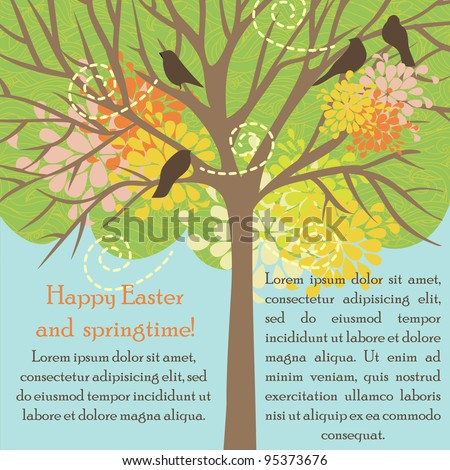 vector card with tree and birds for happy Easter/springtime/wedding/birthday/valentine day - stock vector