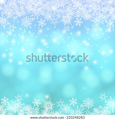 Vector card with winter decor, various snowflakes, shining Christmas lights on blue blurry frozen background - stock vector
