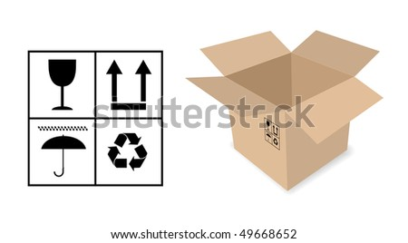vector cardboard box with signs - stock vector
