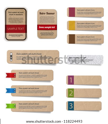 Vector cardboard paper banners collection - stock vector