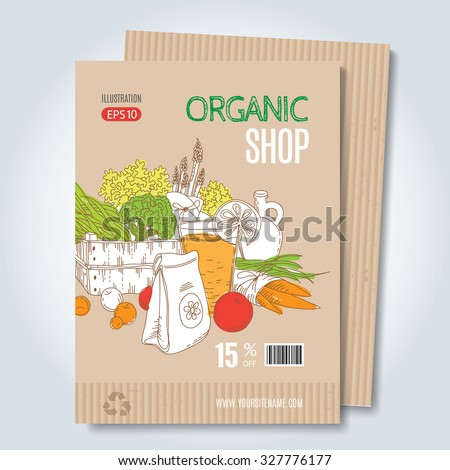 Vector cardboard template. Modern hand drawn style for sale and discount of vegetarian shop, web, periodical, advertising, sticker and print. Concept for natural organic products shop, cover design. - stock vector