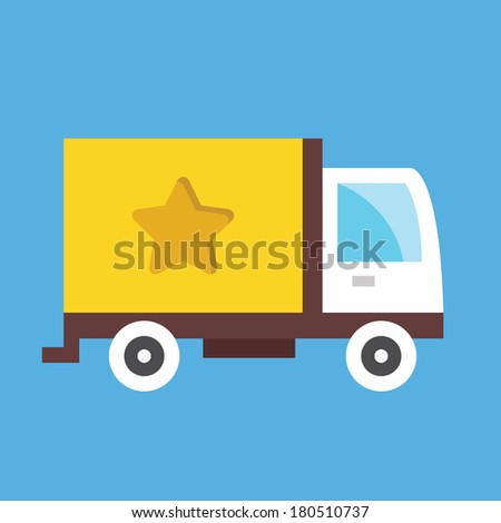 Vector Cargo Delivery Truck Icon - stock vector