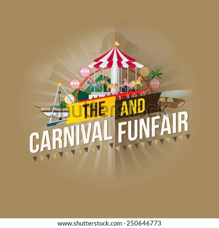 Vector carnival funfair design. - stock vector