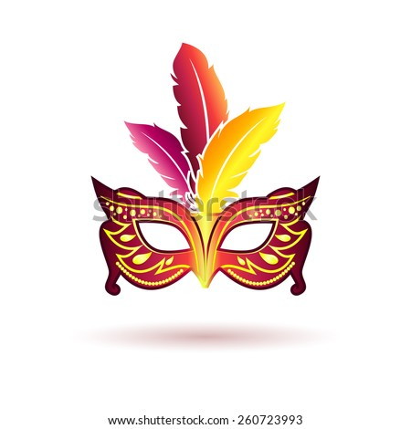 Vector carnival mask with feathers isolated on white background. Anonymous and masquerade - stock vector