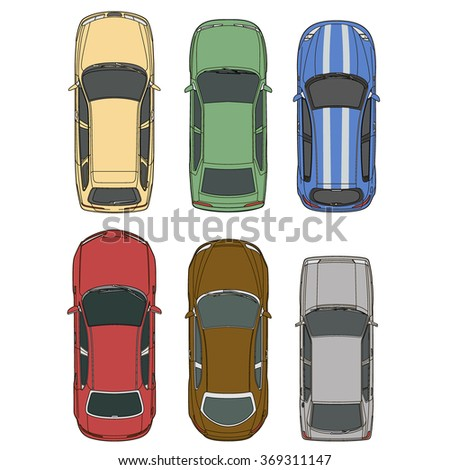 Vector cars set top view illustration - stock vector