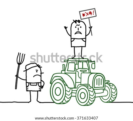 vector cartoon angry farmers with tractor - stock vector