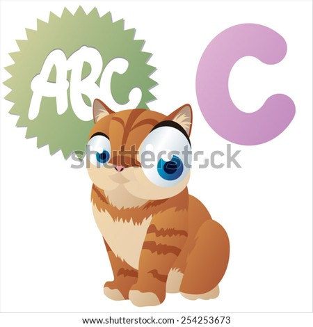 Vector cartoon animal abc: C is for Cat - stock vector