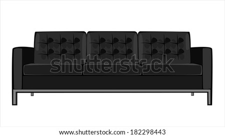 vector cartoon black couch isolated on white background - stock vector