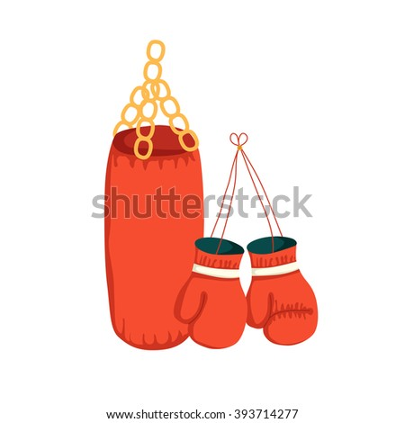 Vector cartoon boxing gloves and punching bag. Sport illustration with boxing object. Fight boxer isolated equipment: punching bag and boxing gloves. Thai box or kickboxing vector background - stock vector