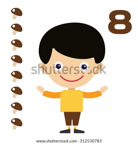 Vector cartoon boy learning game card. Education math cards with fruits and vegetables. Kids boy help to kids learning numbers. Kids school materials. Easy count game. Vector boy earning funny numbers - stock vector