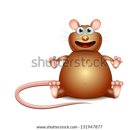 Vector Cartoon brown glutton mouse isolated on white background - stock vector