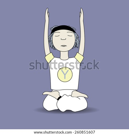 vector cartoon calm  yoga pose boy sits hand up with blue background - stock vector