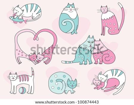 vector cartoon cats collection - stock vector