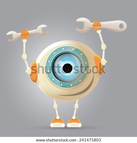 vector Cartoon Character Cute Robot holding wrench. Isolated on Grey Gradient. repair man. - stock vector