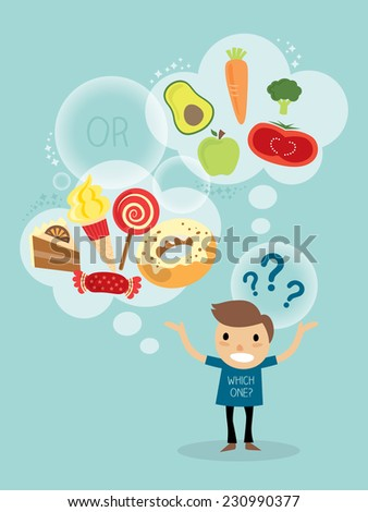 vector cartoon character of a man choosing between healthy and fast food - stock vector
