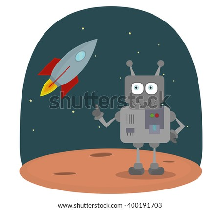Vector Cartoon character of robot on planet in space with space-ship. Modern technologie space universe invasion. Robot on mars. - stock vector