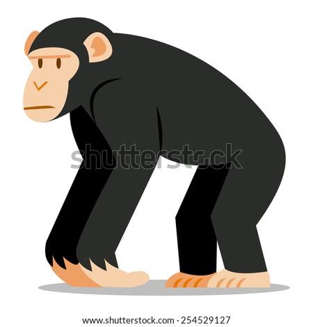 Vector Cartoon Chimp Isolated On Blank Background - stock vector