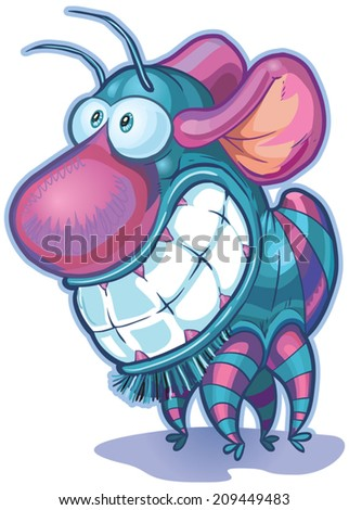 Vector cartoon clip art illustration of a cute and funny imaginary creature or monster. It has a big nose, big teeth, mouse ears, and a body and antennae like a bug. - stock vector