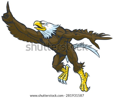 Vector cartoon clip art illustration of a tough muscular bald eagle mascot leaping or flying forward while throwing the number one hand gesture. - stock vector