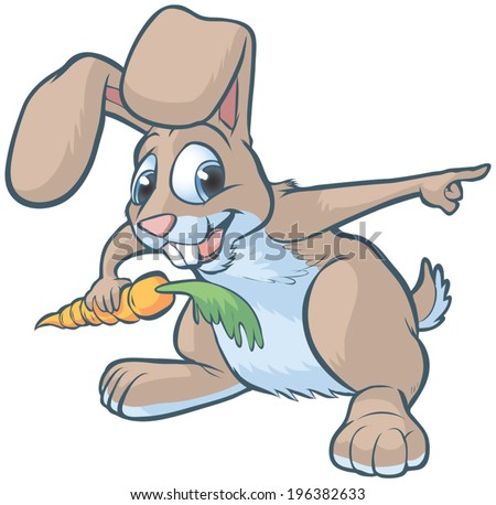 Vector cartoon clip art of a happy brown bunny or rabbit holding a carrot and pointing to the right. - stock vector