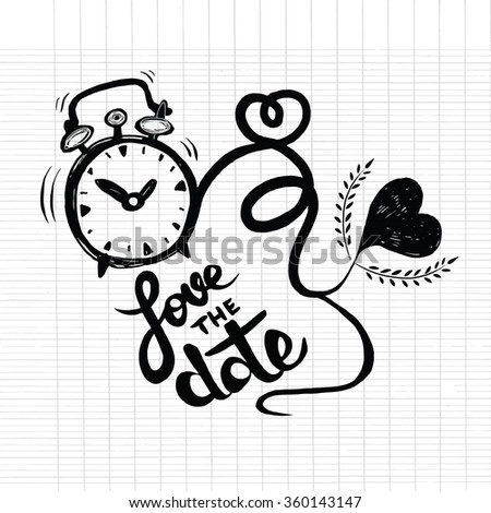 Vector cartoon clock with hearts. Valentine's day card. love the date - stock vector