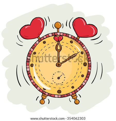 Vector cartoon clock with hearts. Valentine's day card. Time for love - stock vector