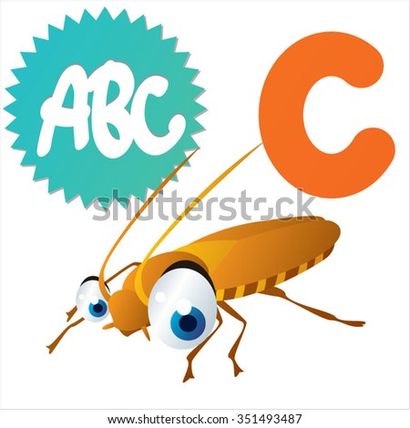 vector cartoon comic illustration for animal funny alphabet. Badges, stickers or logos or icons designs with animals. C is for Cockroach - stock vector