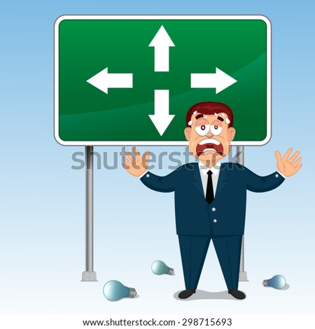 Vector Cartoon Confused Businessman in front of a choice, illustration   - stock vector