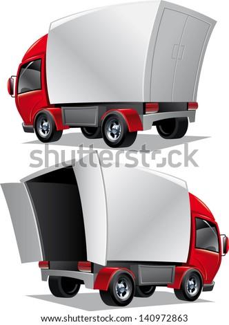 vector cartoon delivery cargo open truck - stock vector