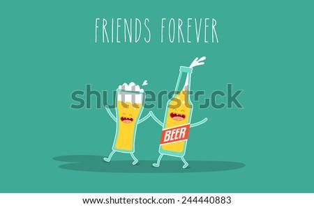 Vector cartoon. Drink beer. Friends forever. Glass of beer, a bottle of beer - stock vector