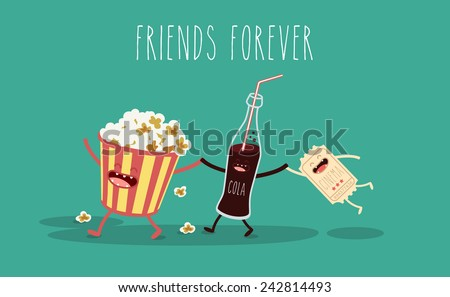 Vector cartoon. fast food. Friends forever. Popcorn, movie ticket, cola, movies, cinema - stock vector