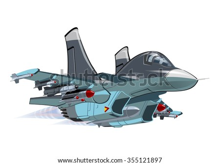 Vector Cartoon Fighter - Bomber Su-34 Fullback. Available EPS-10 vector format separated by groups and layers for easy edit - stock vector