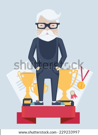 Vector cartoon figure of an old man champion in sport standing on a winners podium wearing a gold medal with golden trophies in a concept of an active old-age and achievement - stock vector