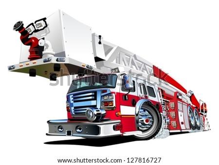 Vector Cartoon Firetruck - stock vector