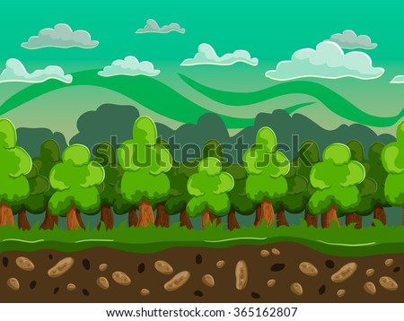 Vector cartoon forest seamless horizontal landscape. Parallax illustration. - stock vector