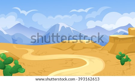 Vector cartoon game background of desert  landscape with road and cactus - stock vector