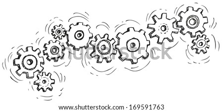 Vector cartoon gear wheels. Drawn in black ink on white background - stock vector