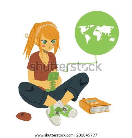 Vector cartoon Girl Writing Text Message on Her Mobile Phone. The vector illustration of young girl writing message on her mobile phone. For ui, web games, tablets, wallpapers, and patterns. - stock vector