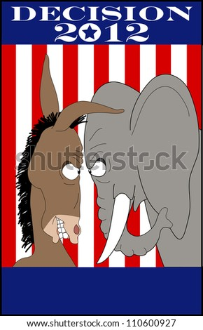 vector cartoon graphic depicting American political mascots, a mule and an elephant - stock vector