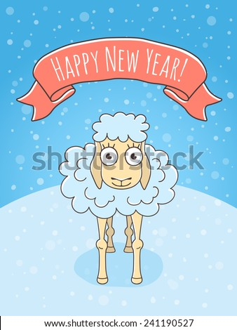 Vector cartoon hand drawn colorful holiday illustration of a happy sheep on a snowy background with a ribbon. New Year character. Chinese horoscope symbol of 2015  - stock vector