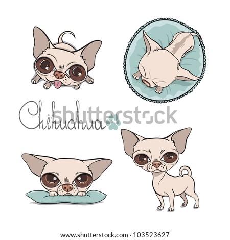 Vector Cartoon Illustration of a Cute Dog - stock vector