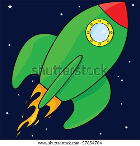 Vector cartoon illustration of a green rocket ship in space - stock vector