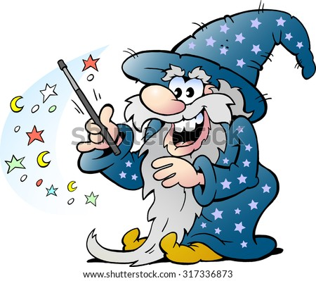 Vector Cartoon illustration of a Happy Old Wizard Magic Man holding a Wand - stock vector